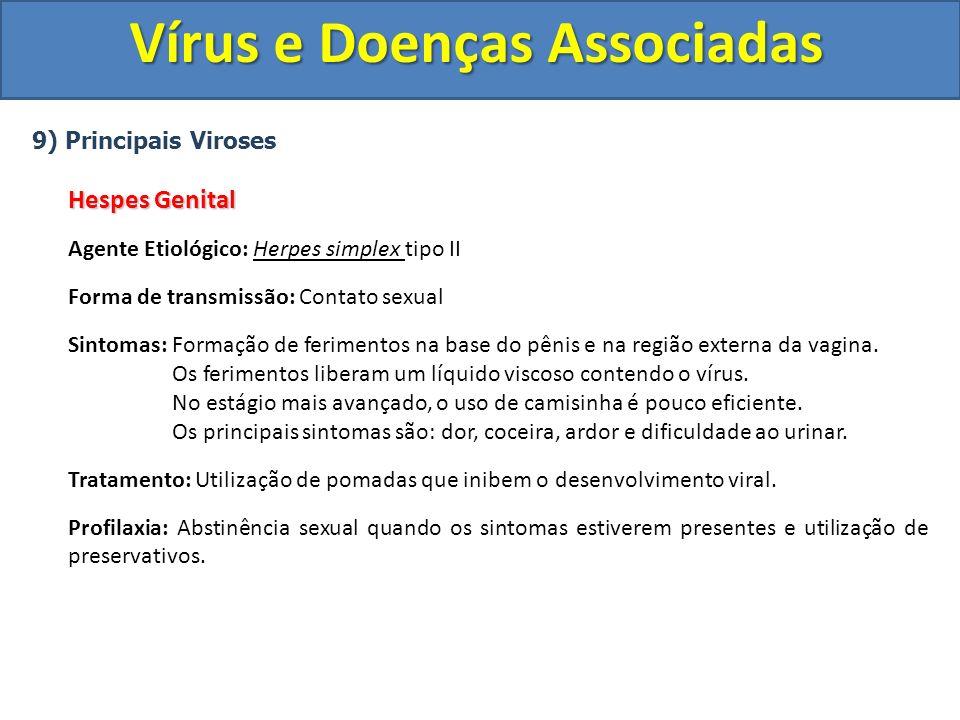 Vírus e Doenças Associadas 9) Principais Viroses Hespes Genital Agente Etiológico: Herpes simplex tipo II Forma de transmissão: Contato sexual Sintoma