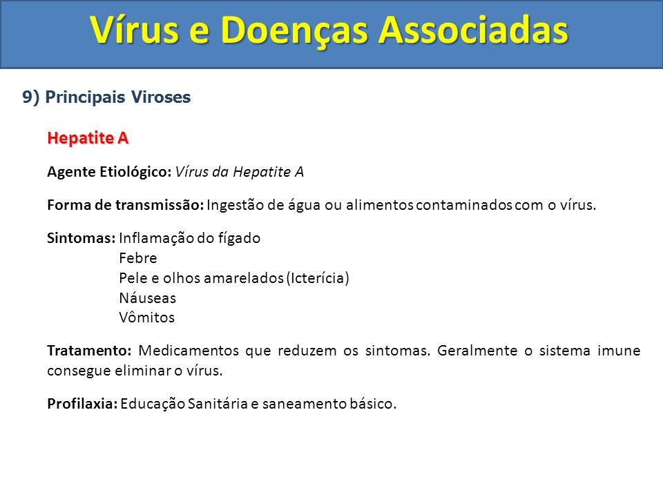 Vírus e Doenças Associadas 9) Principais Viroses Hepatite A Agente Etiológico: Vírus da Hepatite A Forma de transmissão: Ingestão de água ou alimentos