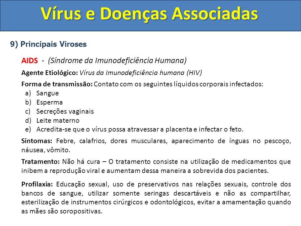 Vírus e Doenças Associadas 9) Principais Viroses AIDS AIDS - (Síndrome da Imunodeficiência Humana) Agente Etiológico: Vírus da Imunodeficiência humana
