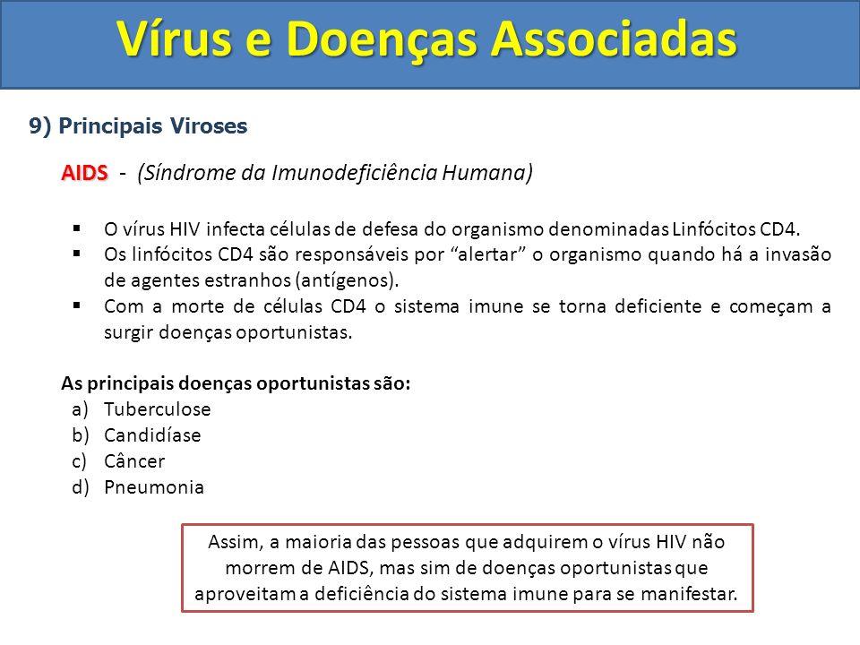 Vírus e Doenças Associadas 9) Principais Viroses AIDS AIDS - (Síndrome da Imunodeficiência Humana) O vírus HIV infecta células de defesa do organismo