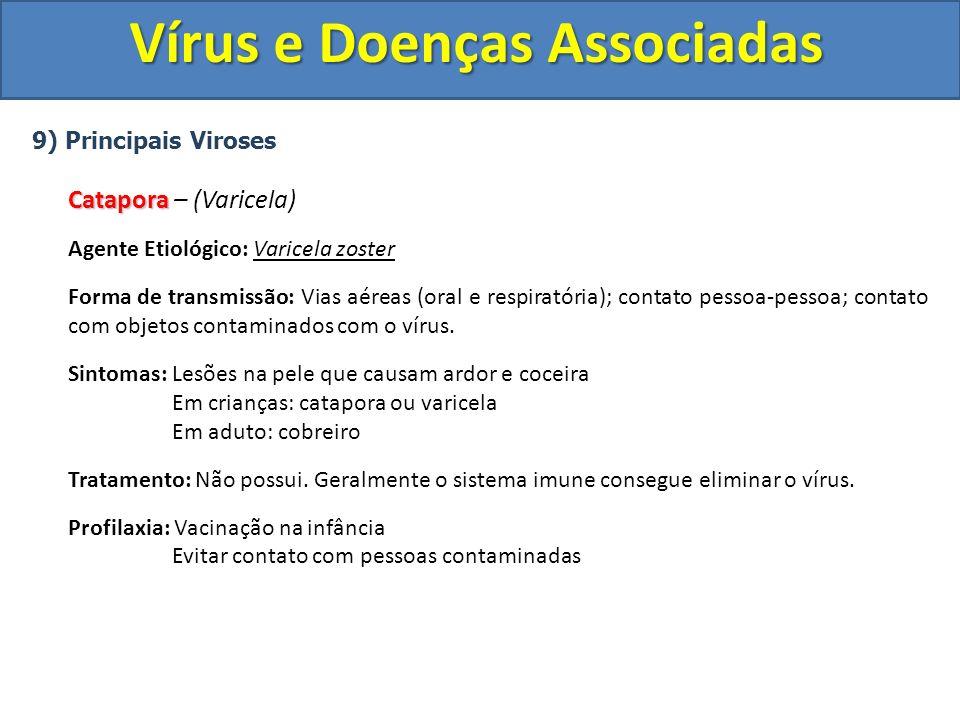 Vírus e Doenças Associadas 9) Principais Viroses Catapora Catapora – (Varicela) Agente Etiológico: Varicela zoster Forma de transmissão: Vias aéreas (