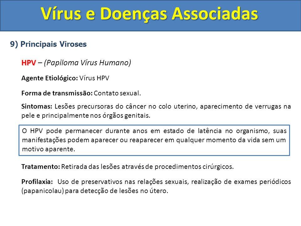 Vírus e Doenças Associadas 9) Principais Viroses HPV HPV – (Papiloma Vírus Humano) Agente Etiológico: Vírus HPV Forma de transmissão: Contato sexual.