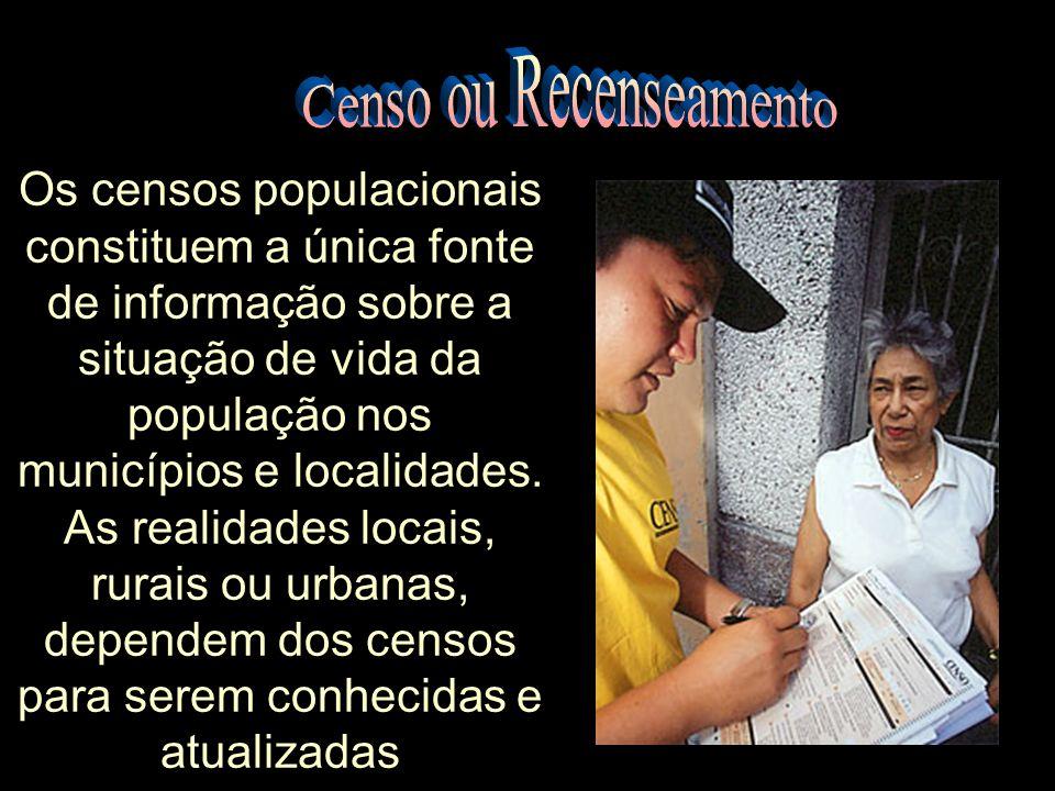 Os censos populacionais constituem a única fonte de informação sobre a situação de vida da população nos municípios e localidades.