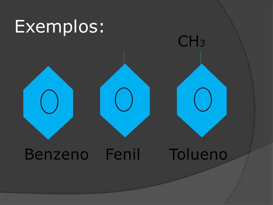 Exemplos: BenzenoFenil CH 3 Tolueno
