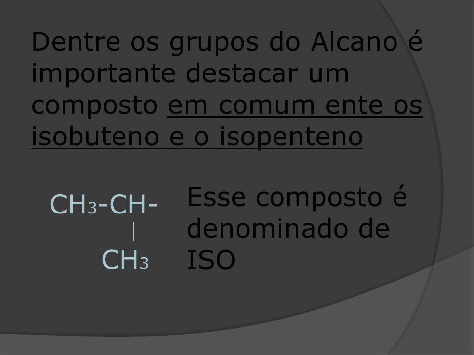 Dentre os grupos do Alcano é importante destacar um composto em comum ente os isobuteno e o isopenteno CH 3 -CH- CH 3 Esse composto é denominado de IS