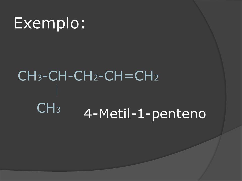Exemplo: CH 3 -CH-CH 2 -CH=CH 2 CH 3 4-Metil-1-penteno