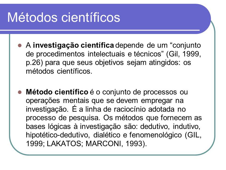 Métodos científicos A investigação científica depende de um conjunto de procedimentos intelectuais e técnicos (Gil, 1999, p.26) para que seus objetivo