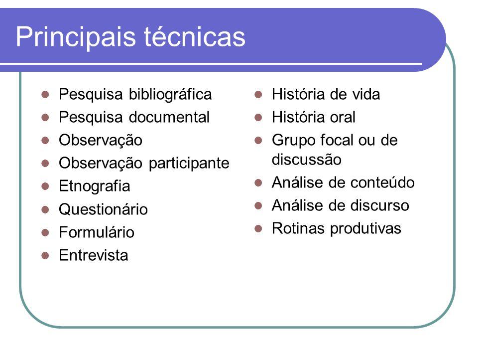 Principais técnicas Pesquisa bibliográfica Pesquisa documental Observação Observação participante Etnografia Questionário Formulário Entrevista Histór