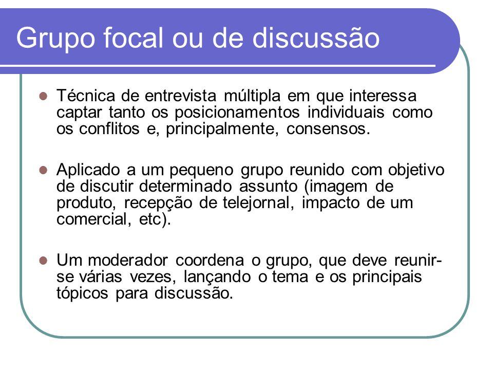 Grupo focal ou de discussão Técnica de entrevista múltipla em que interessa captar tanto os posicionamentos individuais como os conflitos e, principal