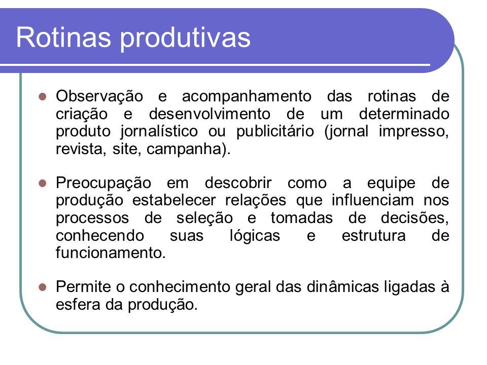 Rotinas produtivas Observação e acompanhamento das rotinas de criação e desenvolvimento de um determinado produto jornalístico ou publicitário (jornal