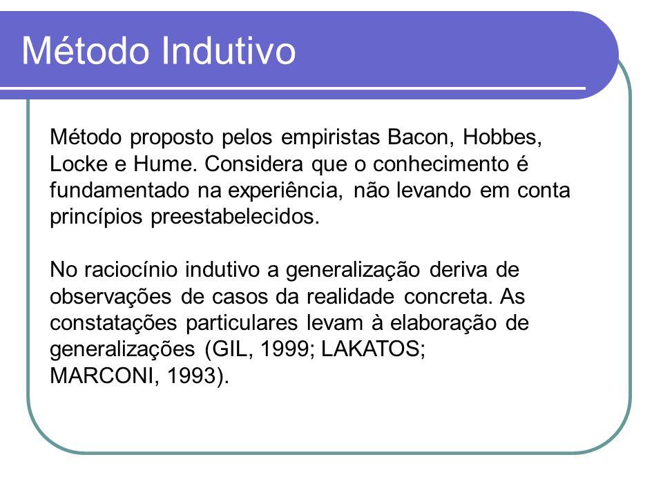 Método Indutivo Método proposto pelos empiristas Bacon, Hobbes, Locke e Hume. Considera que o conhecimento é fundamentado na experiência, não levando
