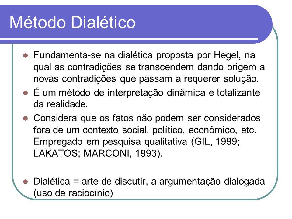 Método Dialético Fundamenta-se na dialética proposta por Hegel, na qual as contradições se transcendem dando origem a novas contradições que passam a