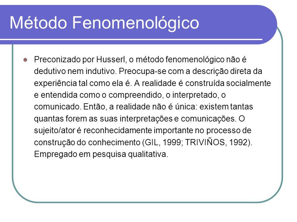 Método Fenomenológico Preconizado por Husserl, o método fenomenológico não é dedutivo nem indutivo. Preocupa-se com a descrição direta da experiência