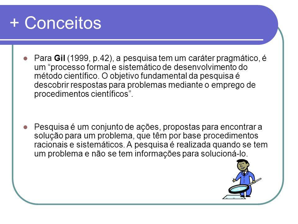 + Conceitos Para Gil (1999, p.42), a pesquisa tem um caráter pragmático, é um processo formal e sistemático de desenvolvimento do método científico. O