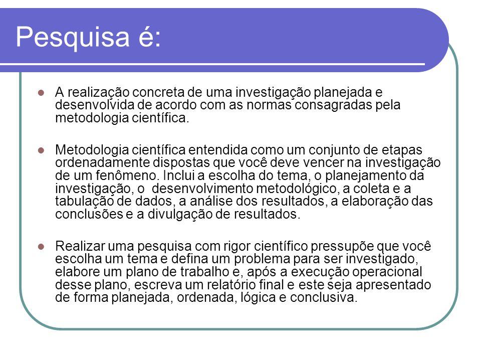 Pesquisa é: A realização concreta de uma investigação planejada e desenvolvida de acordo com as normas consagradas pela metodologia científica. Metodo