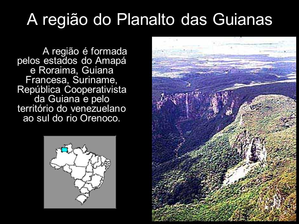 A região do Planalto das Guianas A região é formada pelos estados do Amapá e Roraima, Guiana Francesa, Suriname, República Cooperativista da Guiana e