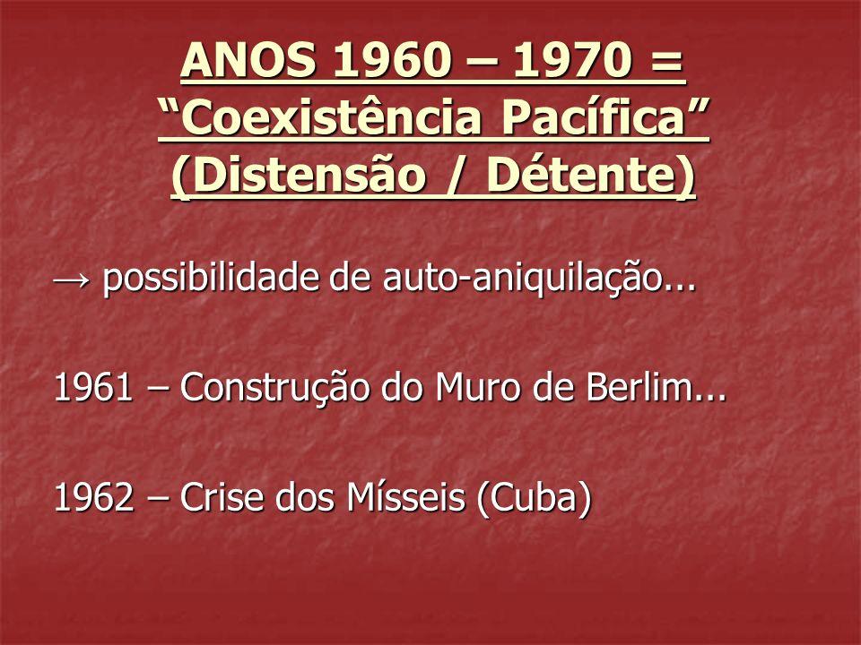 ANOS 1960 – 1970 = Coexistência Pacífica (Distensão / Détente) possibilidade de auto-aniquilação... possibilidade de auto-aniquilação... 1961 – Constr