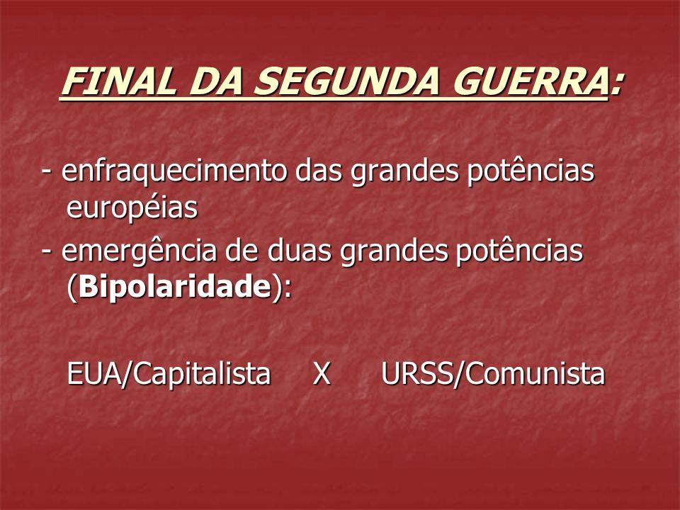 FINAL DA SEGUNDA GUERRA: - enfraquecimento das grandes potências européias - emergência de duas grandes potências (Bipolaridade): EUA/CapitalistaXURSS