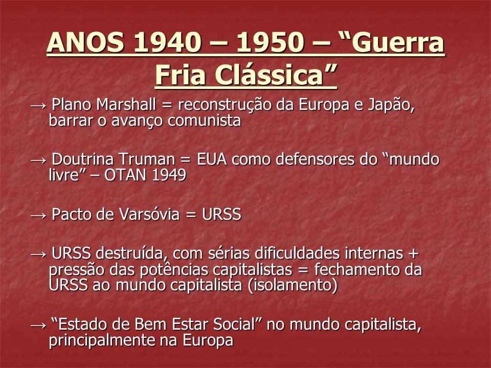 ANOS 1940 – 1950 – Guerra Fria Clássica Plano Marshall = reconstrução da Europa e Japão, barrar o avanço comunista Plano Marshall = reconstrução da Eu