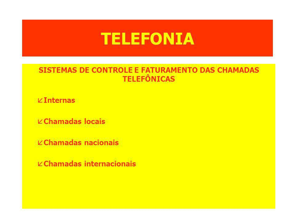 TELEFONIA SISTEMAS DE CONTROLE E FATURAMENTO DAS CHAMADAS TELEFÔNICAS åInternas åChamadas locais åChamadas nacionais åChamadas internacionais