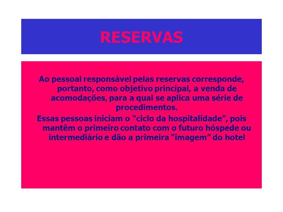 RESERVAS Ao pessoal responsável pelas reservas corresponde, portanto, como objetivo principal, a venda de acomodações, para a qual se aplica uma série