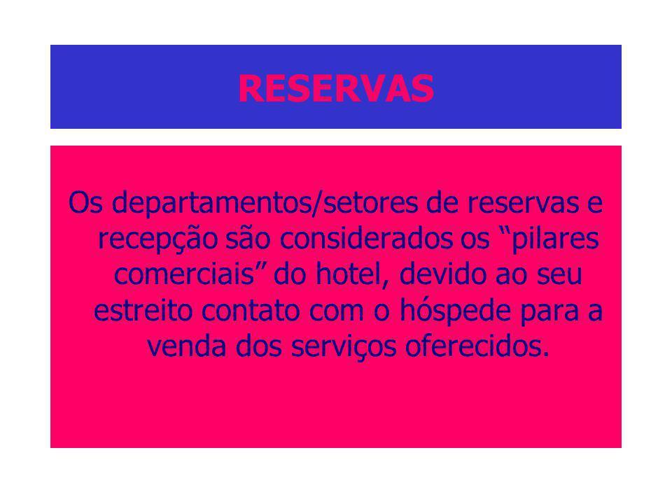 RESERVAS Os departamentos/setores de reservas e recepção são considerados os pilares comerciais do hotel, devido ao seu estreito contato com o hóspede