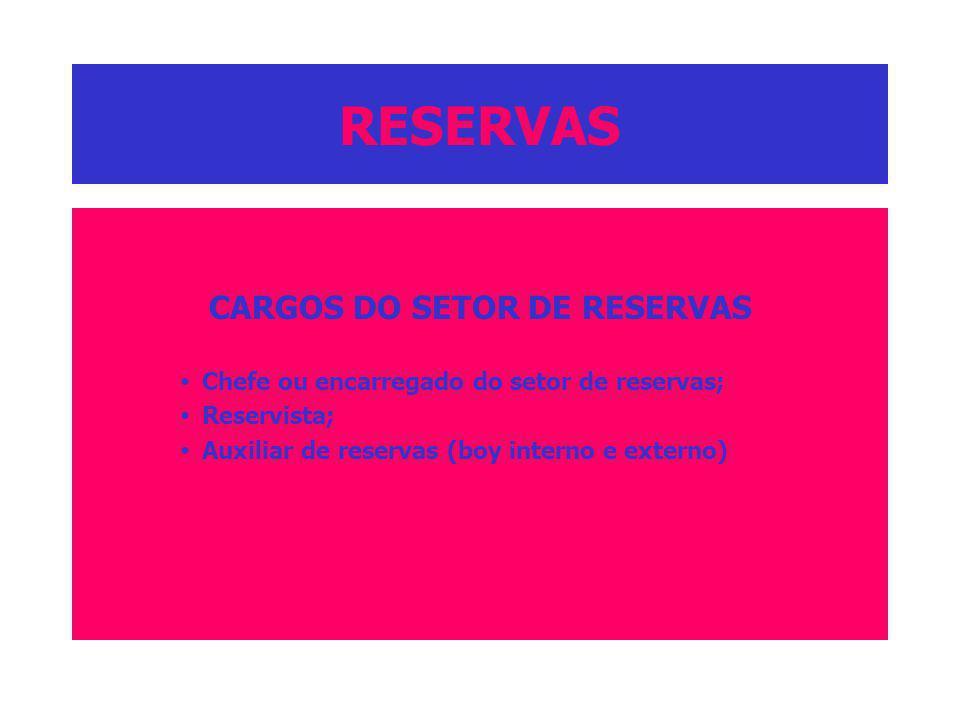 RESERVAS CARGOS DO SETOR DE RESERVAS Chefe ou encarregado do setor de reservas; Reservista; Auxiliar de reservas (boy interno e externo)