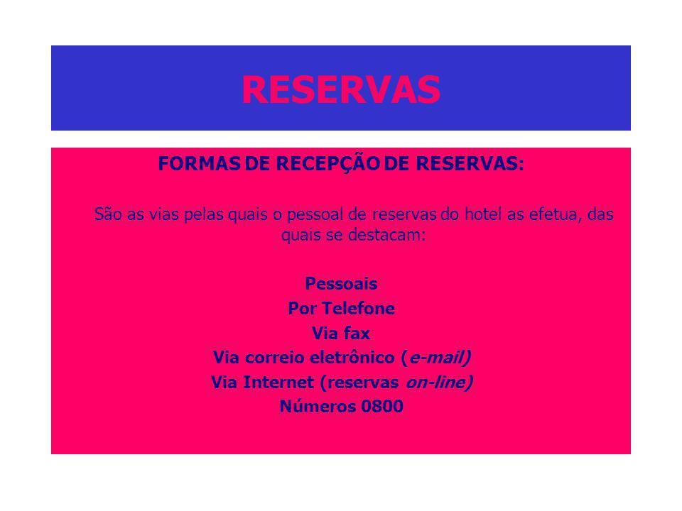 RESERVAS FORMAS DE RECEPÇÃO DE RESERVAS: São as vias pelas quais o pessoal de reservas do hotel as efetua, das quais se destacam: Pessoais Por Telefon