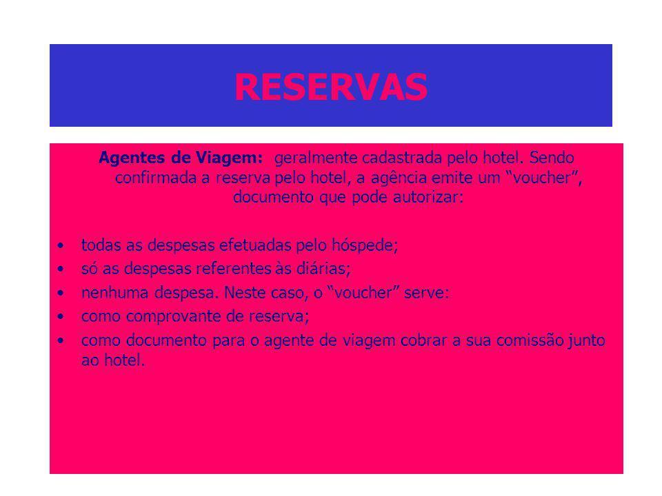 RESERVAS Agentes de Viagem: geralmente cadastrada pelo hotel. Sendo confirmada a reserva pelo hotel, a agência emite um voucher, documento que pode au