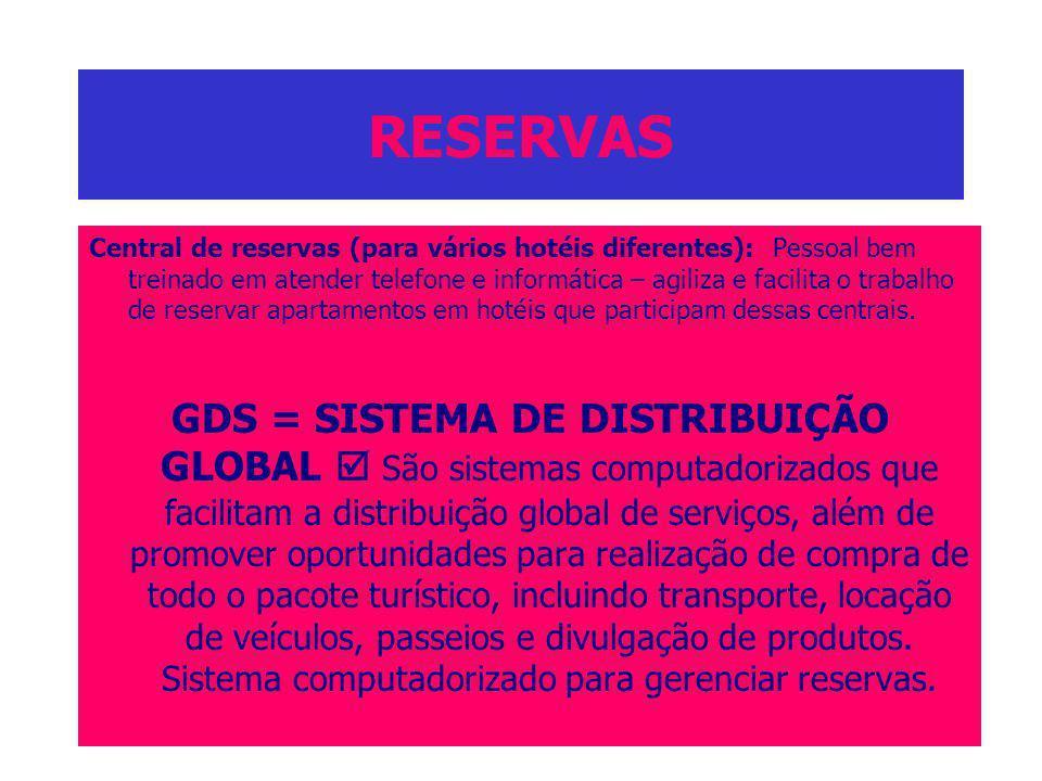 RESERVAS Central de reservas (para vários hotéis diferentes): Pessoal bem treinado em atender telefone e informática – agiliza e facilita o trabalho d
