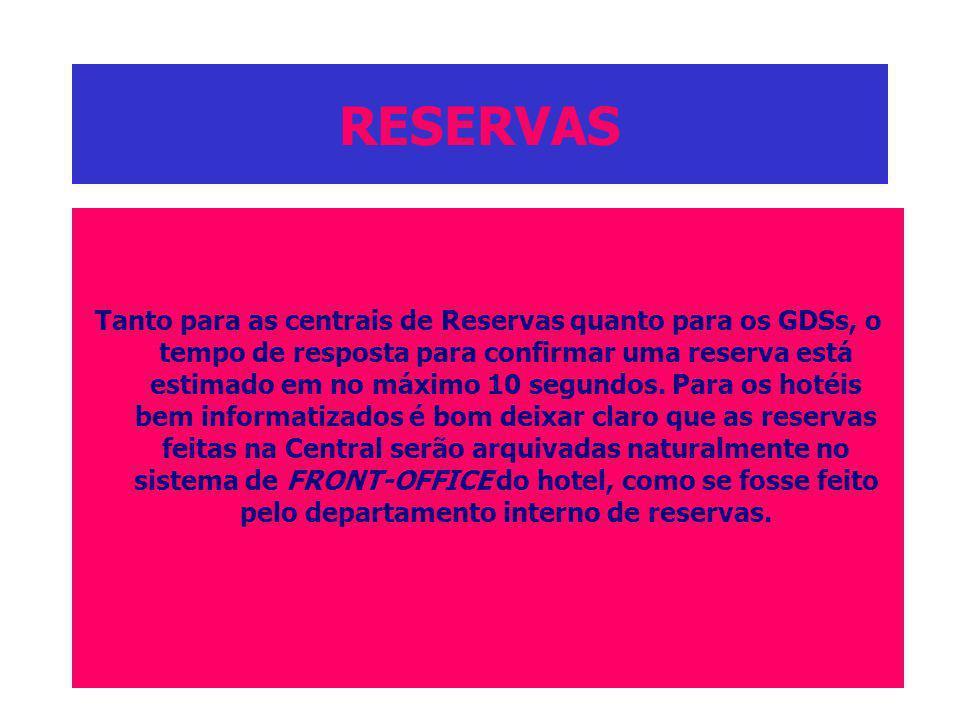 RESERVAS Tanto para as centrais de Reservas quanto para os GDSs, o tempo de resposta para confirmar uma reserva está estimado em no máximo 10 segundos