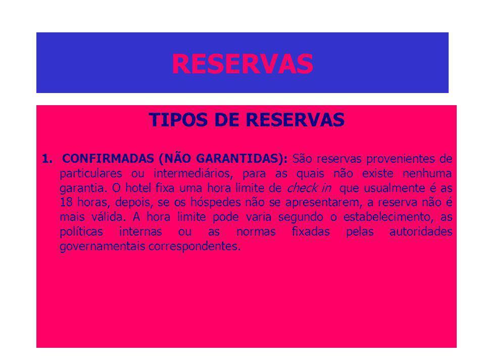 RESERVAS TIPOS DE RESERVAS 1. CONFIRMADAS (NÃO GARANTIDAS): São reservas provenientes de particulares ou intermediários, para as quais não existe nenh