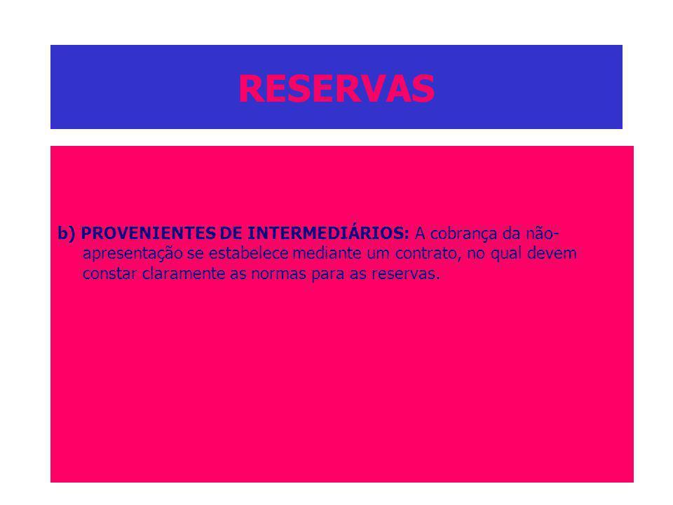 RESERVAS b) PROVENIENTES DE INTERMEDIÁRIOS: A cobrança da não- apresentação se estabelece mediante um contrato, no qual devem constar claramente as no