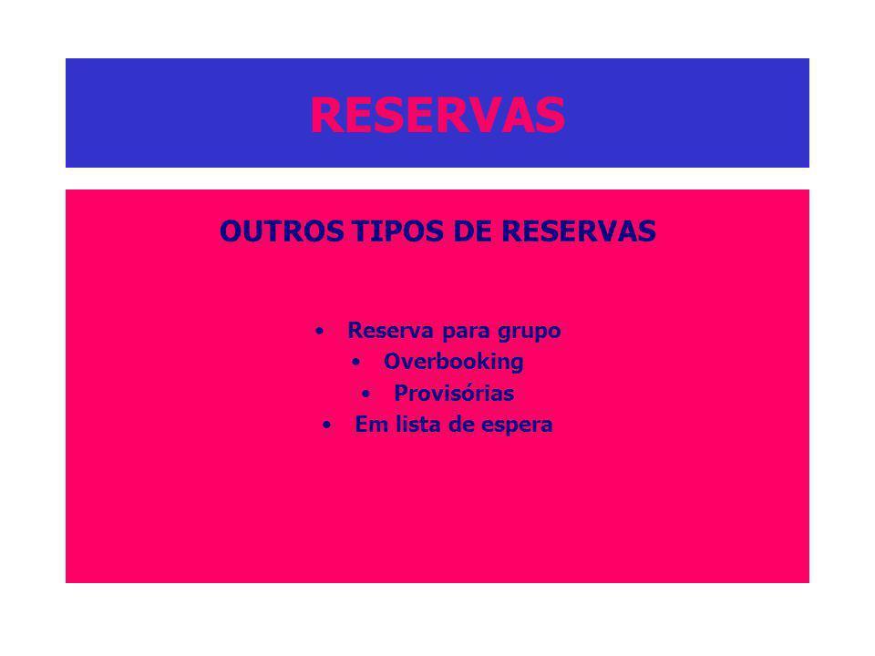 RESERVAS OUTROS TIPOS DE RESERVAS Reserva para grupo Overbooking Provisórias Em lista de espera