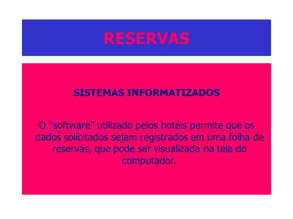 RESERVAS SISTEMAS INFORMATIZADOS O software utilizado pelos hotéis permite que os dados solicitados sejam registrados em uma folha de reservas, que po