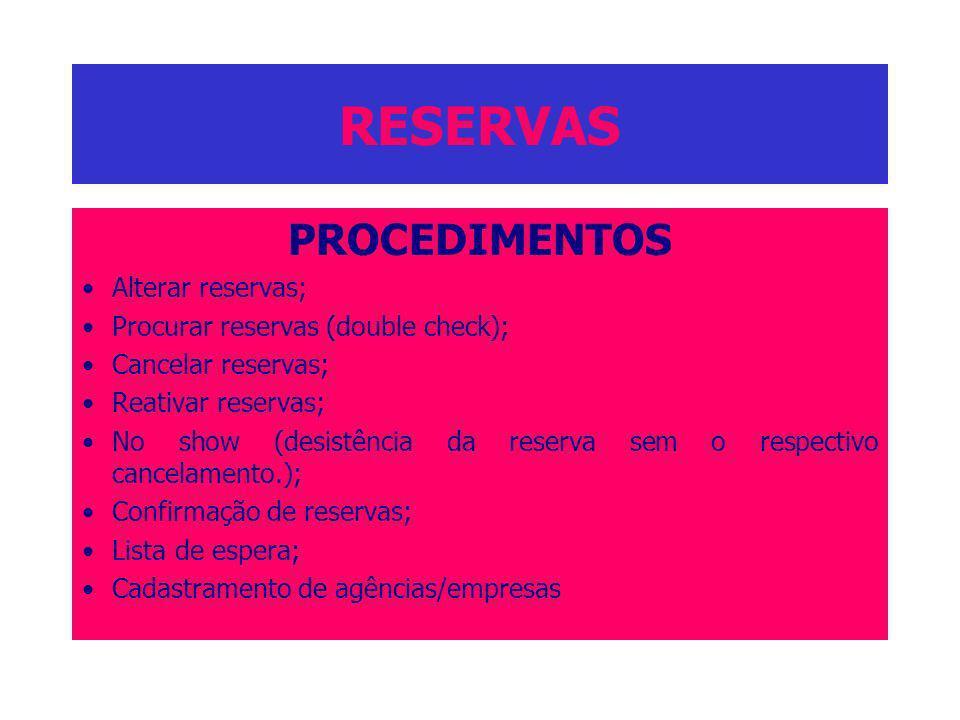 RESERVAS PROCEDIMENTOS Alterar reservas; Procurar reservas (double check); Cancelar reservas; Reativar reservas; No show (desistência da reserva sem o