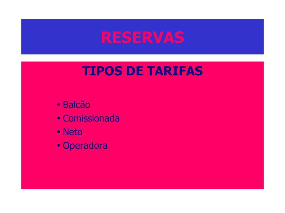 RESERVAS TIPOS DE TARIFAS Balcão Comissionada Neto Operadora