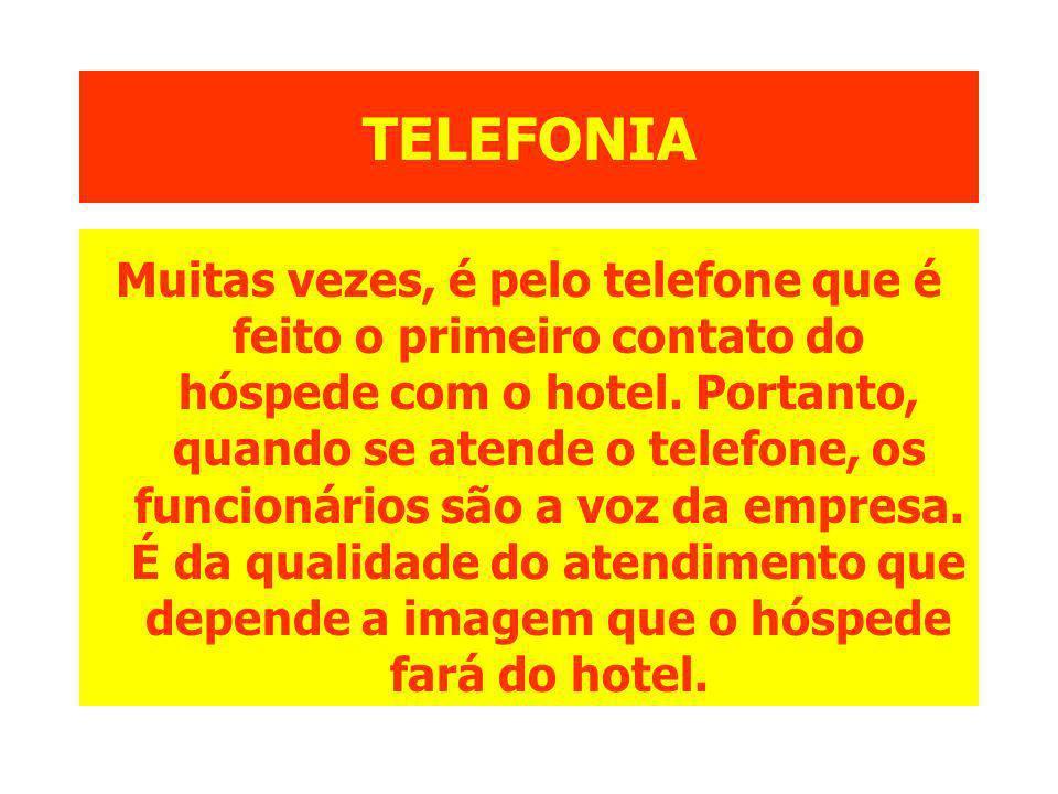 TELEFONIA Muitas vezes, é pelo telefone que é feito o primeiro contato do hóspede com o hotel. Portanto, quando se atende o telefone, os funcionários