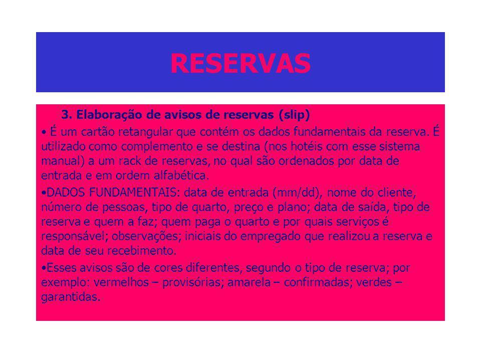 RESERVAS 3. Elaboração de avisos de reservas (slip) É um cartão retangular que contém os dados fundamentais da reserva. É utilizado como complemento e