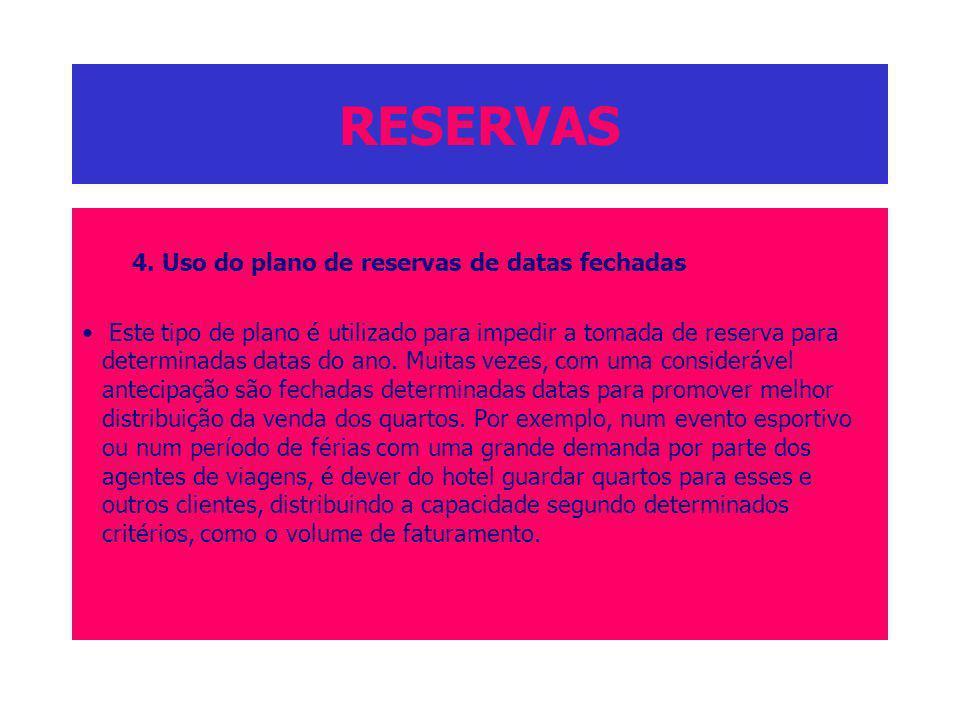 RESERVAS 4. Uso do plano de reservas de datas fechadas Este tipo de plano é utilizado para impedir a tomada de reserva para determinadas datas do ano.
