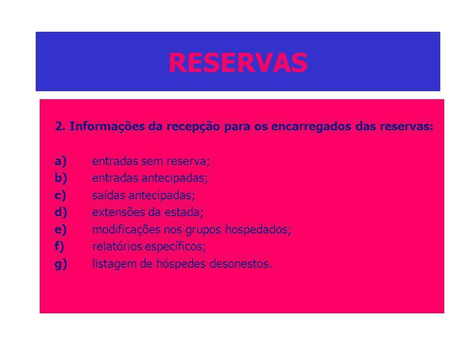 RESERVAS 2. Informações da recepção para os encarregados das reservas: a)entradas sem reserva; b)entradas antecipadas; c)saídas antecipadas; d)extensõ