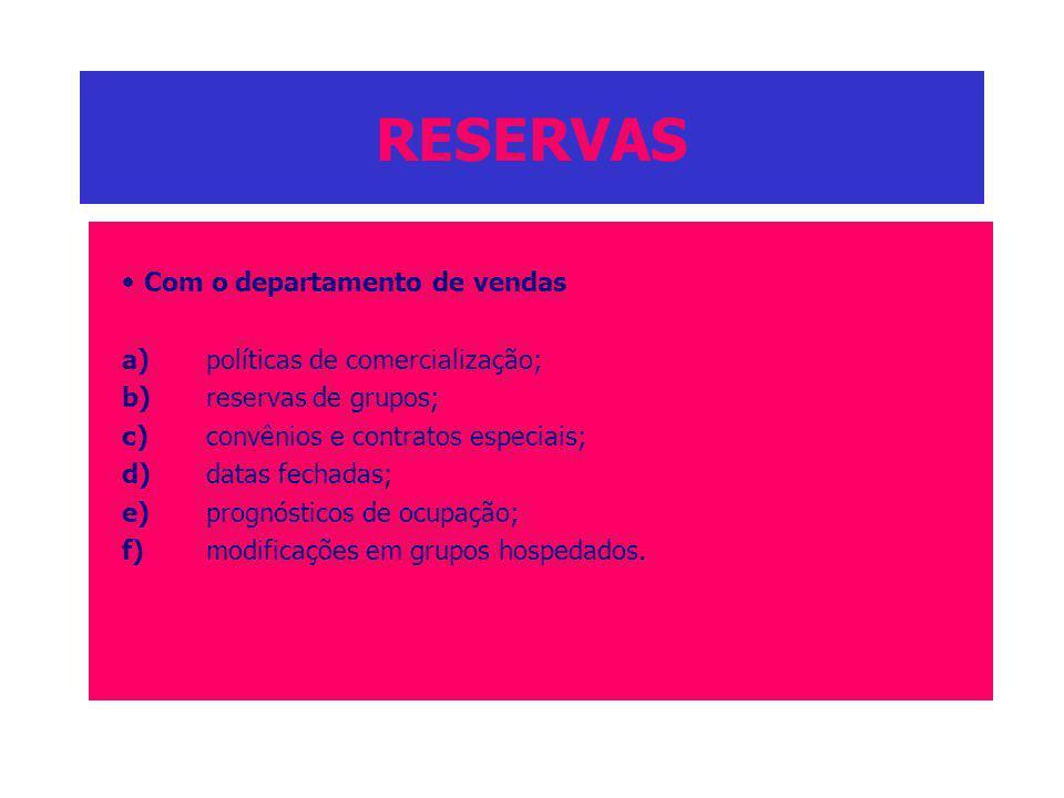 RESERVAS Com o departamento de vendas a)políticas de comercialização; b)reservas de grupos; c)convênios e contratos especiais; d)datas fechadas; e)pro