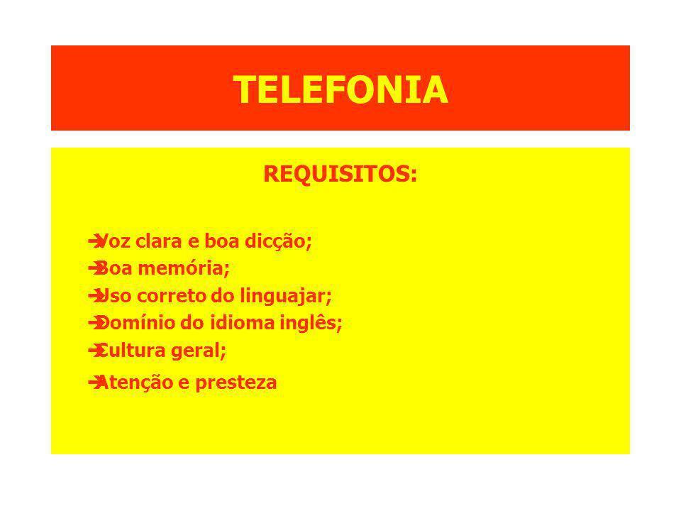 TELEFONIA REQUISITOS: èVoz clara e boa dicção; èBoa memória; èUso correto do linguajar; èDomínio do idioma inglês; èCultura geral; èAtenção e presteza