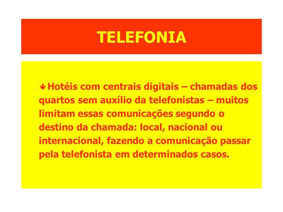 TELEFONIA. Hotéis com centrais digitais – chamadas dos quartos sem auxílio da telefonistas – muitos limitam essas comunicações segundo o destino da ch