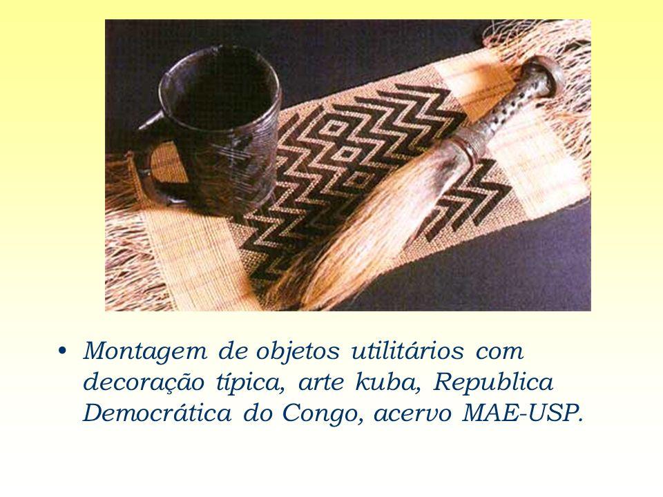 Montagem de objetos utilitários com decoração típica, arte kuba, Republica Democrática do Congo, acervo MAE-USP.