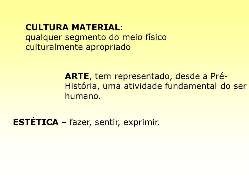 CULTURA MATERIAL: qualquer segmento do meio físico culturalmente apropriado ARTE, tem representado, desde a Pré- História, uma atividade fundamental d