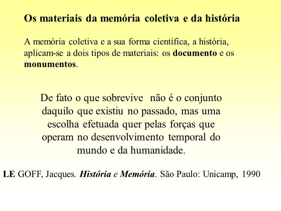 Os materiais da memória coletiva e da história A memória coletiva e a sua forma científica, a história, aplicam-se a dois tipos de materiais: os docum