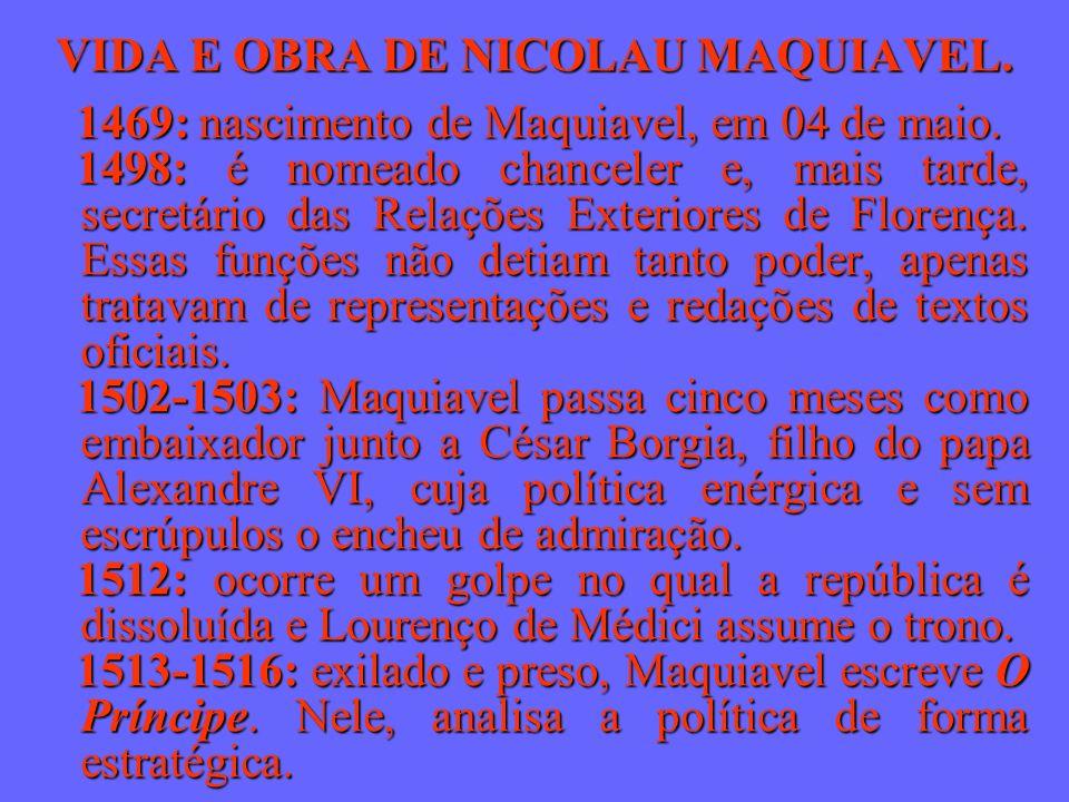VIDA E OBRA DE NICOLAU MAQUIAVEL. 1469: nascimento de Maquiavel, em 04 de maio. 1498: é nomeado chanceler e, mais tarde, secretário das Relações Exter
