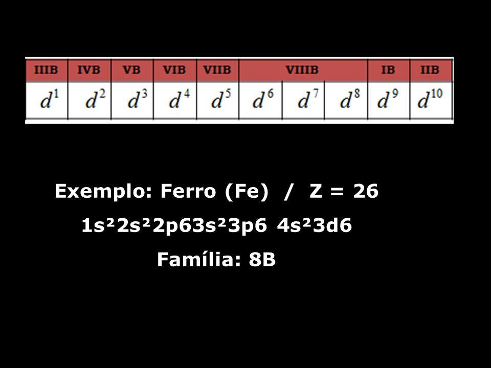 Exemplo: Ferro (Fe) / Z = 26 1s²2s²2p63s²3p6 4s²3d6 Família: 8B