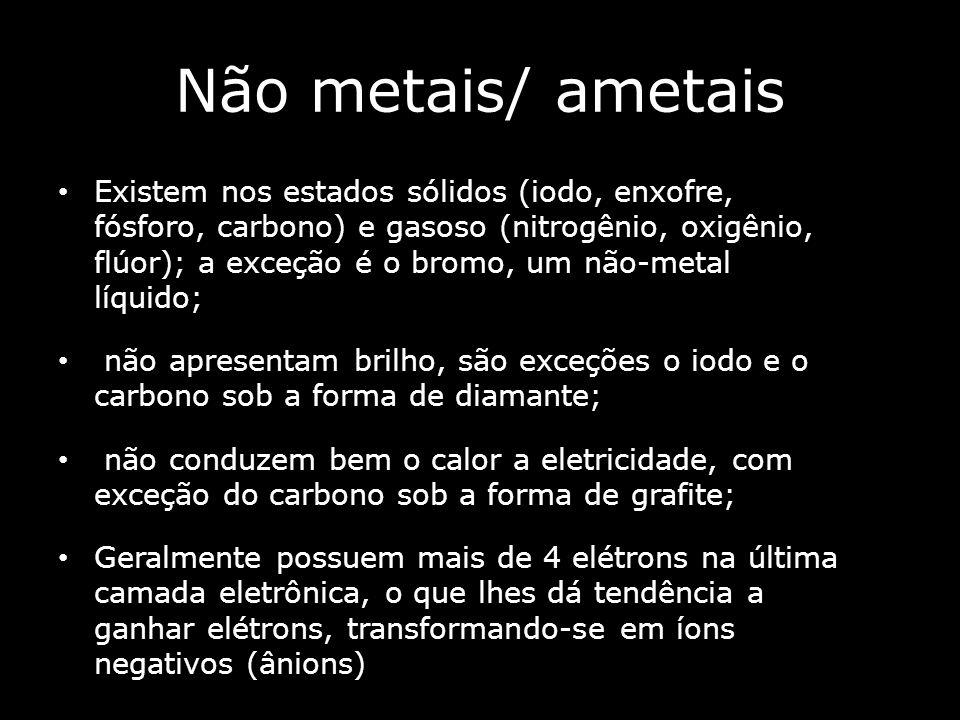 Não metais/ ametais Existem nos estados sólidos (iodo, enxofre, fósforo, carbono) e gasoso (nitrogênio, oxigênio, flúor); a exceção é o bromo, um não-metal líquido; não apresentam brilho, são exceções o iodo e o carbono sob a forma de diamante; não conduzem bem o calor a eletricidade, com exceção do carbono sob a forma de grafite; Geralmente possuem mais de 4 elétrons na última camada eletrônica, o que lhes dá tendência a ganhar elétrons, transformando-se em íons negativos (ânions)